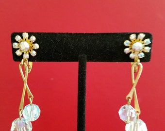 Vintage Crystal & Gold Dangle Clip On