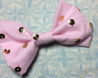 Pink Hair Bow, Pink Fabric Bow, Pink Bow, Fabric Hair Clip, Fabric Bow, Pink With Gold Sequence Hair Barrette, Girls Pink Fabric Bow