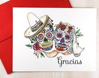 Spanish Wedding Thank You Cards, Sugar Skulls Stationery, Wedding Thank You Cards, Dia de los Muertos, Personalized Stationary Set of 10