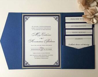 SAMPLE Wedding Invitation, Navy and Gold Wedding Invitation, Pocket Wedding Invitation, Classic Wedding Invitation, Wedding Invitation Set