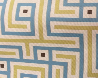 Stone Blue and Lime Green Geometric/ Maze Upholstery, Home Decor Fabric Sample, (1/8yd)