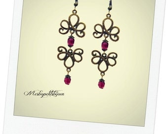 Flower Earrings, spirit Bohemian fushia