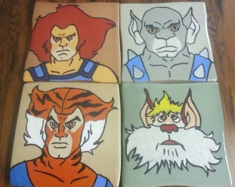 Thundercats Hand Painted Tile Pop Art - lion-o tigra panthro snarf paintings 80's action cartoon toys coasters comic painting