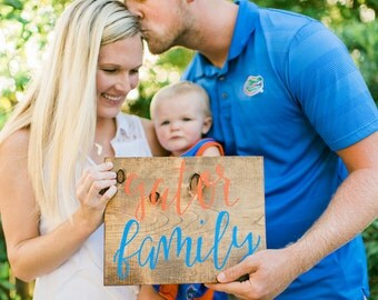 Hand Lettered Wood Signs | Hand Painted Sign | College Football Sign | Sports Team Signs | CustomTeam Sign | Gator Family | Handcrafted Sign