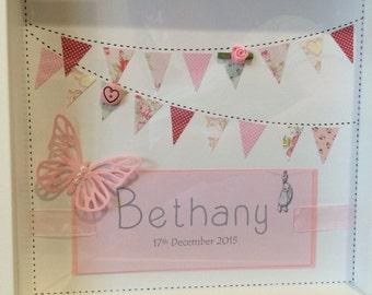 Personalised handmade baby box frame. Perfect in nursery.