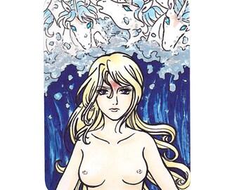 """Original ACEO """"Amalthea's Wrath"""", The Last Unicorn, unicorn illustration, colour ACEO/ATC"""