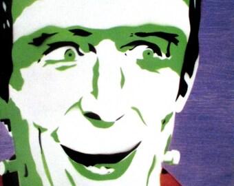 Herman Munster 5x7 PRINT Stencil Art, Spray Paint, Acrylic, The Munsters, Classic TV, TV, Monster, Frankenstein