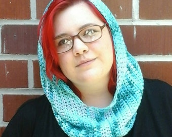 Ombre blue Hooded Cowl