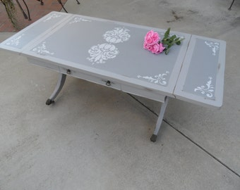 Vintage Drop Leaf Coffee Table with Drawer, Antique Gray Stenciled Table, Old Hardware