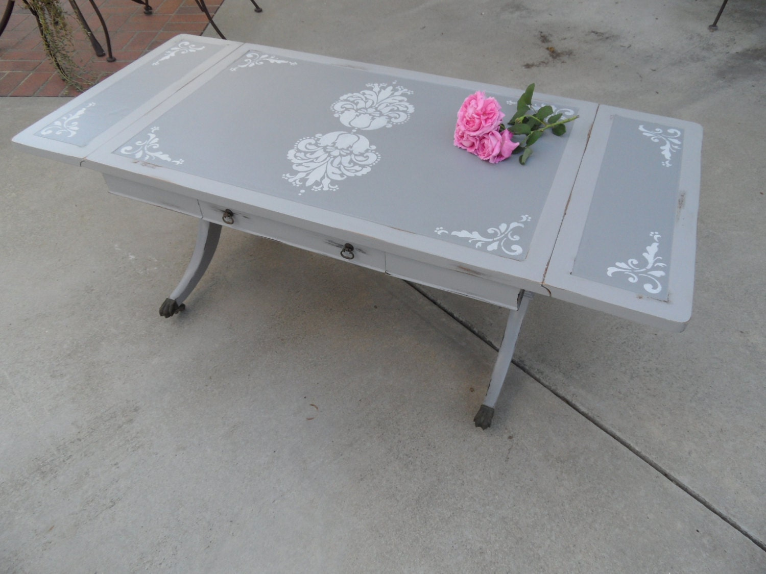 Vintage Drop Leaf Coffee Table with Drawer, Antique Gray Stenciled Table, - Drop Leaf Table Etsy