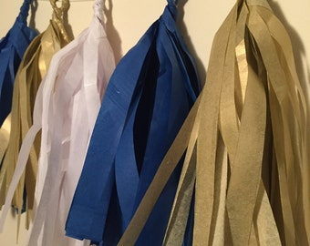 Navy, White and Gold Tissue Paper Garland