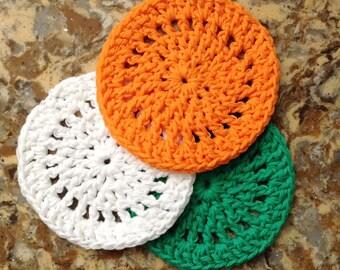 100% Cotton Coaster Set, Crochet, Irish, Ireland, Eire