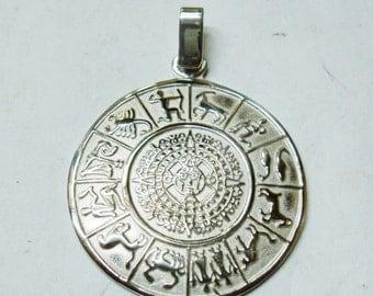 Pendant stone Aztec calendar, horoscope, silver