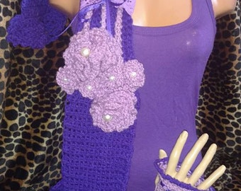 Crochet Romantic Scarf with Wrist Warmers