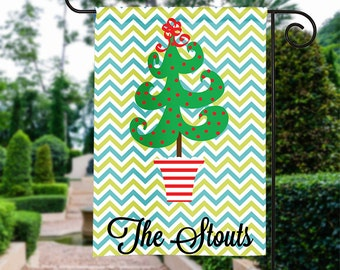 Personalized Garden Flag - Christmas Tree- Fall Garden Flag Monogrammed 12 by 18 Custom Yard Flag Best Selling Gifts For Her Home Decor