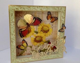 Handmade sunshine Butterfly shadow box card