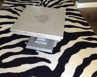 Pair of Silver and gray occasional table, side tables, coffee tables.