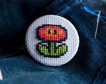 Super Mario Cross Stitch Pin Button