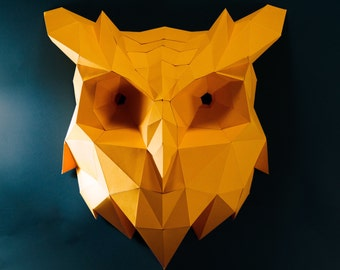 Owl Head , Owl Paper , Animal Head, Owl lowpoly , Owl mask , papercraft, DIY, low poly, trophy, papermodel, wall decoration