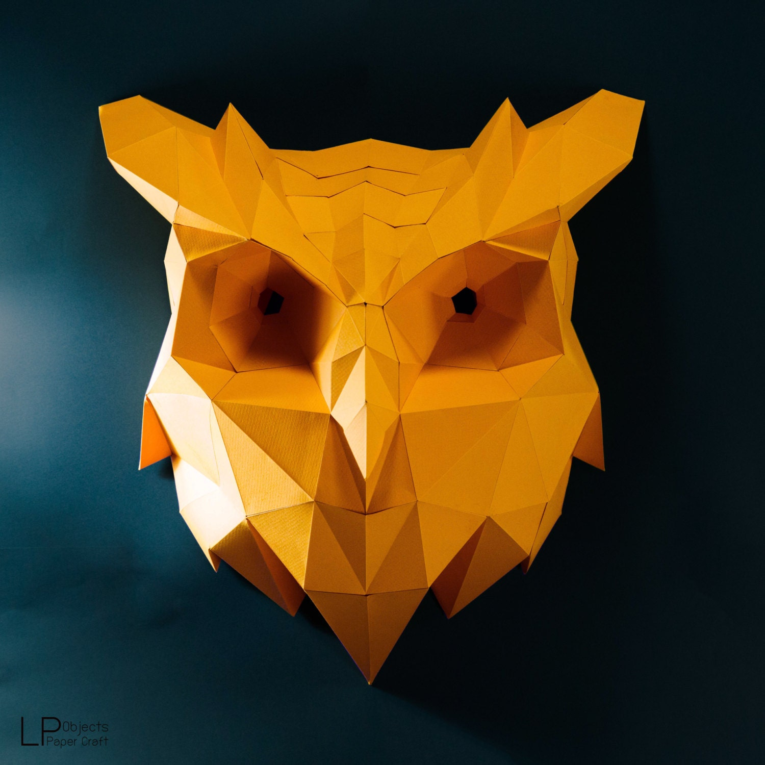 Owl lawn ornaments - Owl Head Owl Paper Animal Head Owl Lowpoly Owl Mask Papercraft