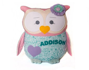 Personalized owl Pink decorative pillow Purple owl pillow Owl nursery decor Baby gift Nursery pillow Plushie Custom name gifts Toddler toys