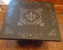 Soft black stenciled Ethan Allen side table