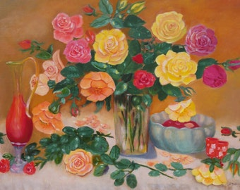 Autumn roses - Oil painting