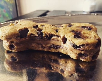 Giant Carob chip cookie with peanut butter filling