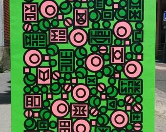 Manu Zed - Pink Candy (paint spray paint on linen)