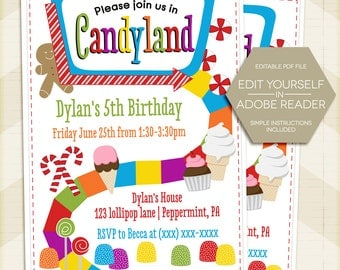 candyland invitation | etsy, Birthday invitations