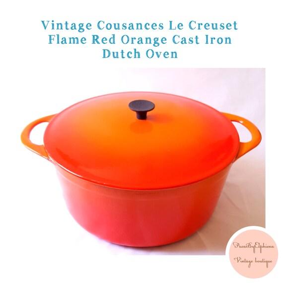 vintage cousances le creuset 24 flame red orange enameled. Black Bedroom Furniture Sets. Home Design Ideas