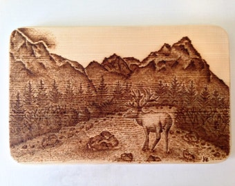 Pyrography art - In the Rockies
