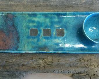 Blue raku tray