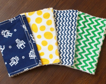 Henry Bundle, baby boy burp cloths, burp cloth set, chenille burp cloths, navy, green, yellow, robot, dino, baby boy gift, baby shower gift
