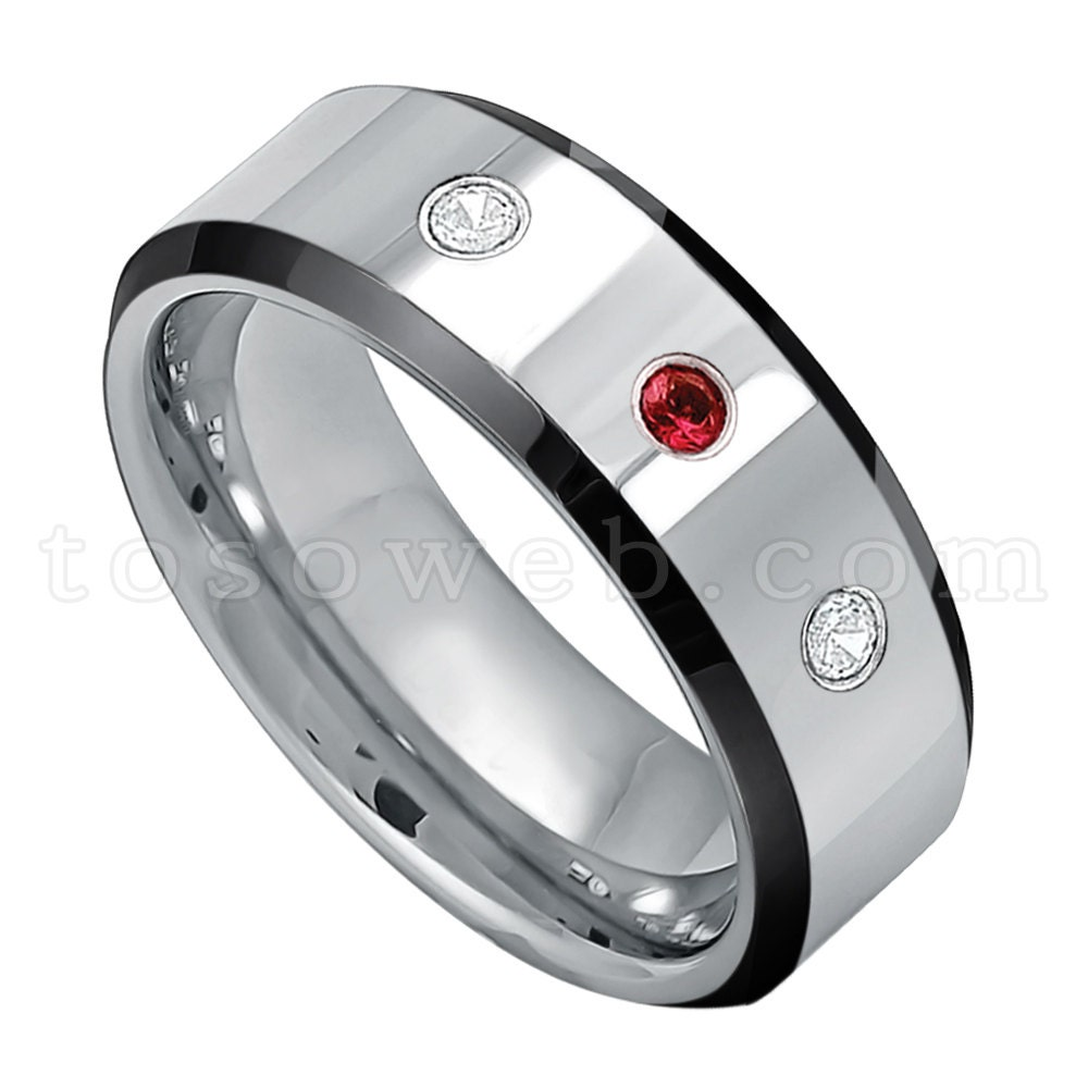 Men39s garnet diamond wedding band january birthstone for Mens wedding rings with birthstones