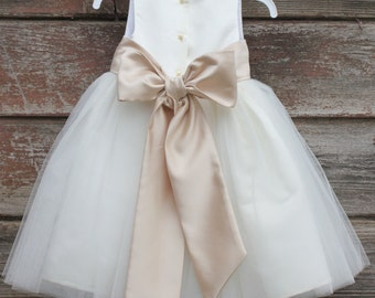 Flower Girl Dresses - IVORY with Champagne (FD0FL) - Wedding Easter Junior Bridesmaid - For Children Toddler Kids Teen Girls