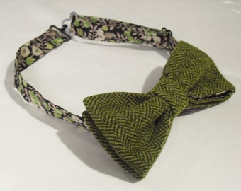 Green Herringbone Tweed and wool Bow tie/Liberty Tana Lawn