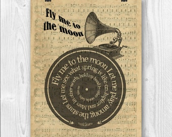 Frank Sinatra Print, Fly me to the moon, Lyrics in spiral over sheet music reproduction, Song Poster, Wedding song print gift, vinyl record