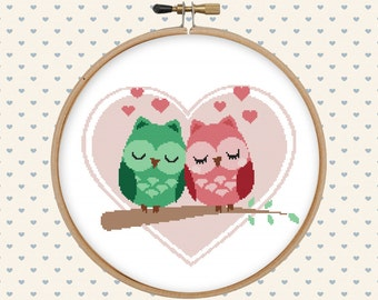 Love owl cross stitch pattern pdf - instant download - heart cross stitch pattern - pillow embroidered