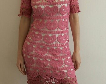pink crochet dress with hearts