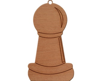 Chess Pawn Wooden Christmas Ornament, Finished Wood Cut Out, Heirloom Ornament, Personalized Ornament