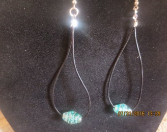 0069-Leather Earrings with Aqua Lampwork Glass
