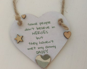 Army dad, army daddy gift, birthday gift, fathers day gift, gift for dad, gift for him, daddy in the army, hero heart gift, special daddy