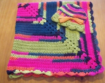 "NEW Handmade Crochet 29"" Baby Blanket and Hat/Beanie Set - Bright Rainbow Neon Colors  - A Wonderful Baby Shower Gift!! - SEE NOTE!"