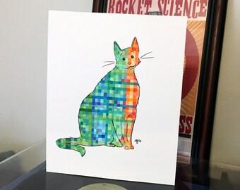 "Pixel Cat Illustration - Original 8x10"" Artwork"