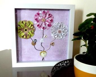 Wall Art, Framed Handmade Origami Paper Flower, Spring Flower Art, Shadow Box, Paper Flowers, Handmade Paper Flowers Decor