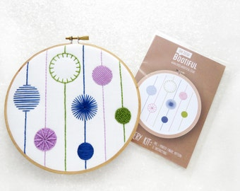 Embroidery Sampler Fabric Pattern, Modern Sampler Needlecraft Kit, Contemporary Embroidery Hoop Art, Needlework Pattern, Embroidery Design