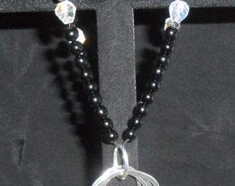 Large Onyx and Crystal Necklace
