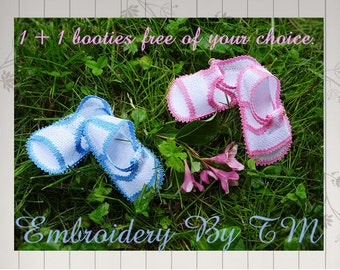 Baby sandals lace embroidery-4x4 hoop/ 1+1 free-original baby booties lace design