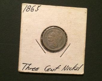 1865 Three Cent Nickel Beautiful Condition!!